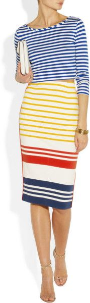 By Malene Birger Trille Striped Cotton Pencil Skirt in Multicolor (multicolored) - Lyst