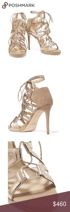 JIMMY CHOO suede and patent-leather sandals Details & Fit: Jimmy Choo neutral Dani sandals Heel measures approximately 100mm/ 4 inches Suede Metallic patent-leather and clear acrylic trims, open almond toe Lace-up front Designer color: Nude Made in Italy Jimmy Choo Shoes Heels