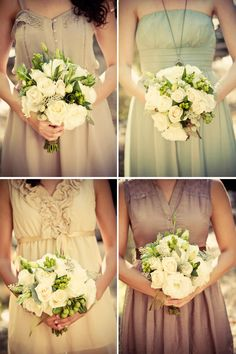 gorgeous bridesmaid dresses. I love the idea of different cuts and colors, but all vintage style.<3