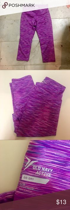 Old Navy Activewear Leggings High waist. Cropped length. Pink / purple color. Compression material. Size large. Never worn- no wear or pilling :) Old Navy Pants Leggings