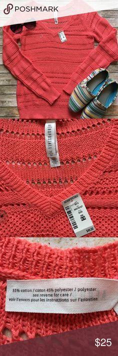 Aeropostale Sheer Knit V-Neck Sweater Aeropostale SZ Medium Sheer Knit Coral V-Neck Sweater. NWT. Never worn. Aeropostale Tops