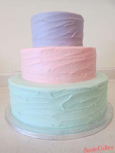 SusieCakes 3 tier pastel textured cake