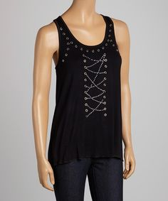 Another great find on #zulily! Black Grommet Tank by Sweet Girl #zulilyfinds
