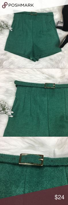 Highwaist wool Green Dress Shorts Size 00 XS • Brand: Masterplan  • Size: size tag removed; measures as 00 but check measurements  • Material: See picture of tag in photos  • Previously owned, excellent used condition  • Length 13 inseam 3 waist 12.5  • Other info: Lined masterplan Shorts