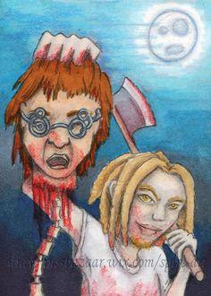 #ACEO #Halloween 31 Original #Art Dark #Character #Vampire #Blood Miniature - SEMcNeill #Miniature