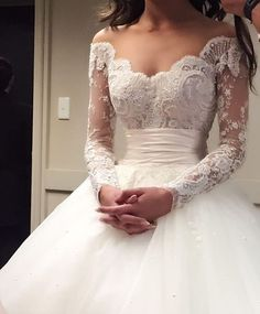 Elegantly unique off-the-shoulder embroidered long-sleeve wedding dress with empire waistline; Featured Dress: Steven Khalil - I'm absolutely in LOVE with this dream dress ❤️️ Wedding Goals, Wedding Attire, Destination Wedding, Dubai Wedding, Casual Wedding, Wedding Beauty, Luxury Wedding, Dream Wedding Dresses, Bridal Dresses