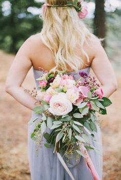 Gorgeous Pink Rose and Eucalyptus Bouquet, bridal bouquet, elegant rustic wedding, boho wedding flowers, bohemian wedding trends