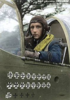 Stanisław Skalski DSO, DFC and two Bars (27 November 1915 – 12 November 2004) was a Polish fighter ace of the Polish Air Force in World War II, later rising to the rank of Generał Brygady. Stanisław Skalski was the top Polish fighter ace of WW II and the first Allied fighter ace of the war, credited, according to official list, with 18 11/12 victories and two probable. Some sources, including Skalski himself, give a number of 22+ victories.(Colorised by Tomek Iwanowski from Poland)
