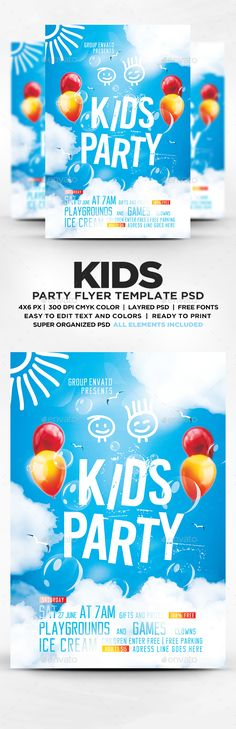 Kids Party Flyer Template PSD. Download here: http://graphicriver.net/item/kids-party-flyer-template-psd/16766534?ref=ksioks
