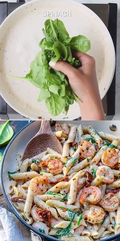 This Creamy Shrimp Pasta recipe is made with a light cream sauce, sun-dried tomatoes, spinach, and a light creamy sauce. Quick and easy lunch or dinner recipe that's delicious and appetizing. recipe videos for dinner pasta CREAMY SHRIMP PASTA Vegan Dinner Recipes, Easy Healthy Recipes, Quick Easy Meals, Beef Recipes, Vegetarian Recipes, Lunch Recipes, Yummy Healthy Food, Healthy Lunch Wraps, Healthy Burritos