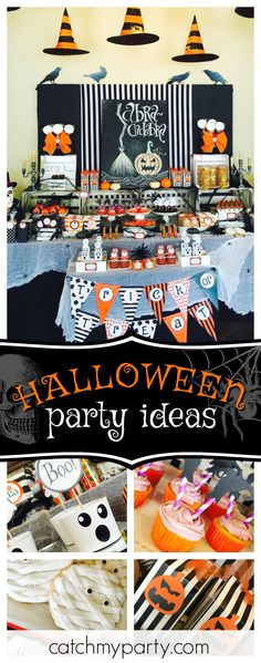 Take a look at this awesome Halloween party! The witch cupcakes are so much fun!! See more party ideas and share yours at CatchMyParty.com #cupcakes #halloween