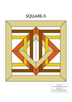 SQUARE-5 Stained glass pattern, Mosaic pattern, Painting glass pattern, to DOWNLOAD PDF, Suncatcher, Window panel, Window handing ויטראז by VitrageMosaicDesign on Etsy