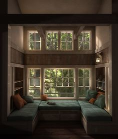 In my dream house, I would have a reading nook like this.  Big enough to fit several family members!