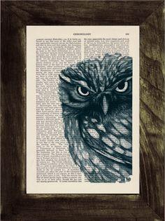Dark Blue Owl Print on Vintage Book via Etsy