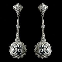 Art Deco Gatsby Inspired Cubic Zirconia Bridal Earrings