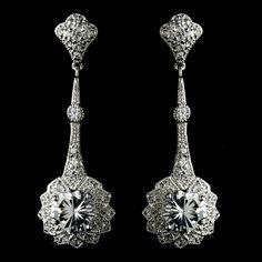 Art Deco Gatsby Inspired Cubic Zirconia Bridal Earrings