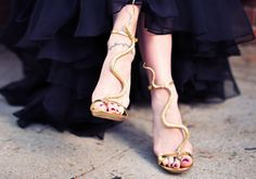 These gold serpent heels are perfect for the adventurous. | 33 Ways To Stay Golden This Spring