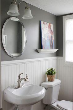 17 Inspiring Rustic Bathroom Decor Ideas For Cozy Home: Modern Rustic Master Bathroom Design Ideas Rustic Master Bathroom, Downstairs Bathroom, Bathroom Closet, Modern Bathroom, Wainscoting Bathroom, Bathroom Interior, Bathroom Mirrors, Grey Bathroom Decor, Gray Bathroom Walls