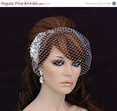 SALE - Bird Cage Veil , Blusher , Birdcage Veil and Comb , Bridal Comb ,  Wedding Comb , Bridal Hair Accessory , Crystal Bachelorette Veil on Etsy, $69.00