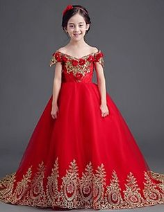 Ball Gown Sweep / Brush Train Flower Girl Dress - Organza Off-the-shoulder with Appliques Bow(s) Crystal Detailing Flower(s)
