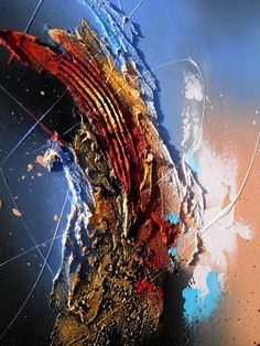 Frontière - Tableau abstrait moderne contemporain peinture acrylique en relief