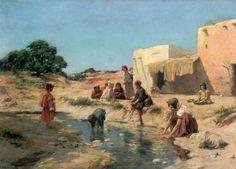 Algérie, Peintre  José Alsina(1850 - 1925), huile sur toile , Titre : La vie au bord de l'oued