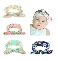 942cb7897d7 4pcs Lot Baby Girl Floral Bow Tie Bunny Ears Headband Hair Bands Bow  Accessories Pack Toddlers