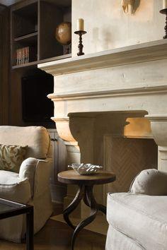 Limestone Rumford fireplace. Foothill Terrace | Ryan Street & Associates
