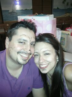 My brother and sister in law at their baby shower.(cute faces huh?)  If they couldn't guess the gifts before opening, we got the opportunity to draw on their faces with a (washable) black marker.   This would be the perfect gift for them to have great memories of this day for Valentine's Day!  #pintowin   #mfcbigcheese