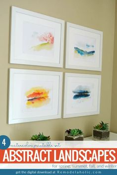 VIDEO of IKEA HACK! plus printables. Add beautiful color and style to your wall art with this printable set of abstract watercolor landscapes with gold foil accents. 4 seasonal prints can be displayed together as a collection or swapped out to match the season outside. #remodelaholic #printableartcollection #gallerywall