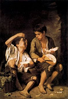 Bartolome Esteban Murillo Beggar Boys Eating Grapes and Melon oil painting for sale; Select your favorite Bartolome Esteban Murillo Beggar Boys Eating Grapes and Melon painting on canvas or frame at discount price. Baroque Painting, Baroque Art, Caravaggio, Esteban Murillo, Spanish Art, Spanish Painters, Classic Paintings, Oil Painting Reproductions, Oeuvre D'art
