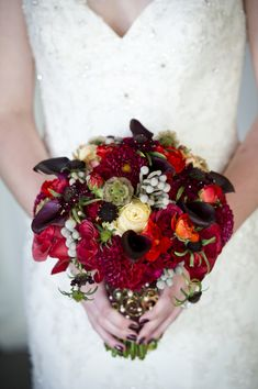 Purple & Red bouquet // photo by Aislinn Kate Photography