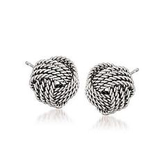 Ross-Simons - Sterling Silver Love Knot Earrings - #774115