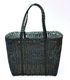 Woven Guatemalan Black Plastic Market Basket by HandcraftGuatemala