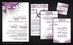 Purple Modern Leaves invitations Card-54