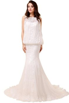 ORIENT BRIDE Beach Wedding Dresses Lace Appliques Bridal Gown Size 12 US White