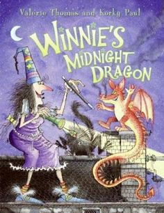 Winnie and her black cat, Wilbur, are all tucked into bed when, suddenly, Wilbur is woken up by a strange noise. There's a baby dragon at the door. Soon Winnie finds her house filled with breaking bowls, armor clattering down the stairs, puffs of smoke and even clouds of butterflies. A spooky and imaginative story.