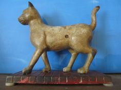 Antique Primitive Folk Art Cast Iron Cat Bank.