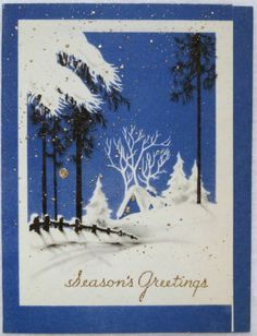 30s Night Snow Scene- Vintage Christmas Greeting Card