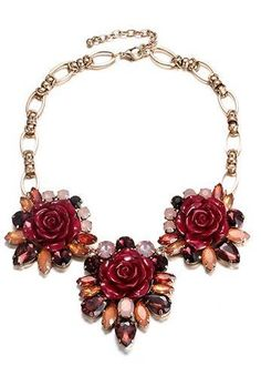 eManco Garden Style Stylish Romantic Rose Flower Statement Necklaces for Women Red Resin & Crystal & Korea Chain Fashion Jewelry Cheap Choker Necklace, Metal Necklaces, Necklace Types, Flower Necklace, Fashion Necklace, Pendant Necklace, Statement Necklaces, Collar Chain, Fashion Jewellery Online