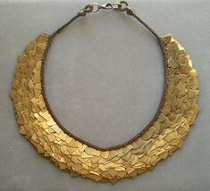 bib necklace bronze metal industrial antiqued gold. $150.00, via Etsy.