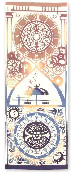[材 質] 綿100% 〔特文〕[サイズ] 約 35×90 cm -針向く方へ刻む時間、日が往く先へ進む時感- 西班牙(スペイン)から届いた機械時計 より正確な時間の概念が生活に定着しました。 回り続ける時計の針は時を超えて現代(いま)に繋がる。