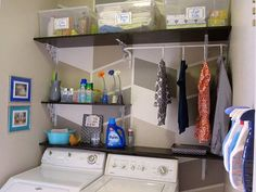 Creative Storage Hacks For an Organized Home --> DIY Customized and Affordable Shelving in Laundry Room : #tips #organizing #storage