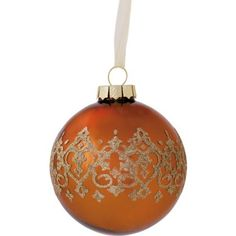 Bronze Glass Bauble With Damask Band at Homebase -- Be inspired and make your house a home. Buy now.