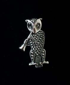 Vintage W GERMANY Stamped Pin Owl with Marcasite Playing the Clarinet Silver Ton