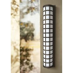 See the difference a great exterior light can make with this geometric outdoor wall light. high x 8 wide. Extends 4 from the wall. Style # at Lamps Plus. Outdoor Wall Light Fixtures, Outdoor Wall Sconce, Outdoor Wall Lighting, Exterior Lighting, Outdoor Walls, Exterior Stairs, Interior And Exterior, White Acrylics, Bronze Finish