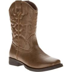 Faded Glory Boys' Cowboy Boot, Size: 3, Brown
