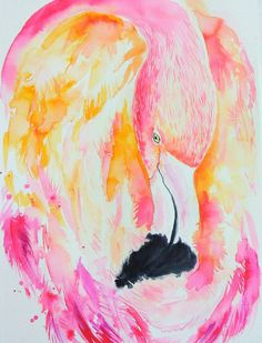 Pink Flamingo original watercolor painting coral от orangerinka