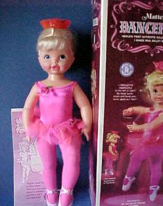 Dancerina was THE doll to get for Christmas 1969. She was a 24 inch tall Ballerina doll. She had batteries in her back and when she was turned on, you would hold her by the knob in the center of the crown on her head and she would spin around on her toes.