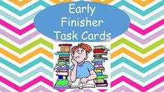 """""""I'm done.  What can I do?""""  You won't be hearing this with this set of 36 early finishers task cards.  This isn't just busy work.  These task cards require high level thinking skills.   Please take a peek at another product in my store.  It is called Book Order Fun."""